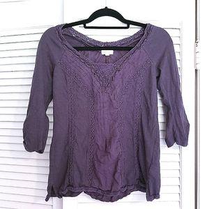 meadow rue lace deep purple long sleeve top s